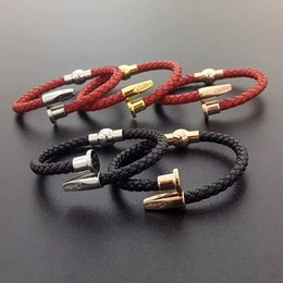 Wholesale 2019 New arrival Paris style man bracelet with geniuine leather L stainless steel love punk red and black color nail bangle jewelry free