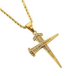 $enCountryForm.capitalKeyWord NZ - New Personalized Hip Hop Jewelry Fashion Men Cross Pendant Necklaces Full Rhinestone Design American Star Popular Necklace With Chain 60cm