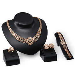 Wholesale Dubai 18K Gold Pendant Lion Head Necklace Sets Fashion African Diamond Wedding Bridal Jewelry Sets (Necklace + Bracelet + Earrings +Ring)