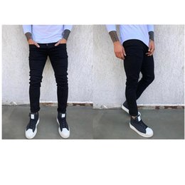 6f064601 New Hi-Street Mens Black Ripped Jeans Men Plus Size 28-36 Fashion Male  Distressed Skinny Jeans Destroyed Denim Jeans Pants