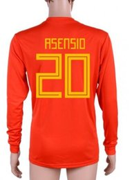 customized long sleeve soccer jerseys 2019 - Customized new mens 18-19 Home Red 20 Asensio Long Sleeves Thai Quality Soccer Jersey,22 isco 6 A.Iniesta 21 Silva 10 Th