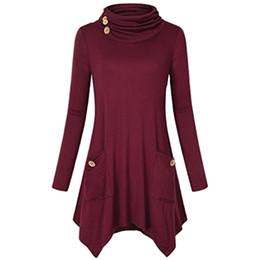 28dd0029212 Fashion Women Autumn Long t shirt Solid Color Asymmetric Hem Cowl Neck camiseta  feminina Autumn Fashion Long Sleeve Tunic Tops