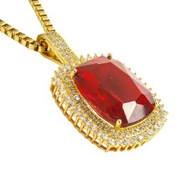 Mens ruby jewelry dhgate uk sparkling ruby pendant chain bling 18k yellow gold filled hip hop womens mens pendant necklace luxury jewelry mozeypictures Choice Image