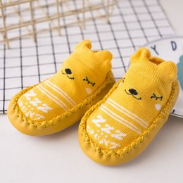Baby Slipper Soles Canada - New Hot Cute Animals Shoe Socks For Baby Combed Cotton Anti Slip Boy Girl Indoor Socks Leather Sole Newborn Socks 0-24M Home Slippers