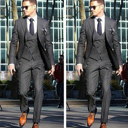 $enCountryForm.capitalKeyWord NZ - Three Piece Gray Business Party Men Suits for Wedding Wear Notched Lapel Classic Style Custom Made Groom Tuxedos Jacket Pants Vest