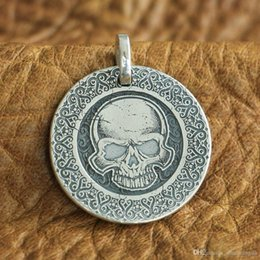 Laser Engraved Pendants NZ - LINSION 999 Sterling Silver Laser Engraved High Details Skull Mens Biker Pendant 9X305 JP
