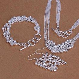 $enCountryForm.capitalKeyWord NZ - Hot Selling silver plated fashion jewelry Six Line Smooth Grape Ball Bracelet Necklace Earring 925 joyas de plata Jewelry Set