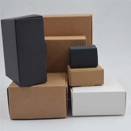 Wholesale Boxes Packaging Australia - Small Gift Paper Box Handmade Soap Craft Packaging Vintage Brown Kraft Boxes Black small boxes
