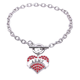 Pendent Plate NZ - Fashion Rhodium Plated With Sparkling Crystals ARMY Heart Shape Charm Pendent Link Chain Bracelet Lobster Claw