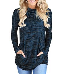 Wholesale heap t shirts online – design Women s clothing autumn winter sports wind heap collar pocket loose T shirt YSYzc176