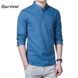 7943476fa64b8 2018 New Men Shirts Pullovers Men s Casual Fashion Slim Fit Large Size Long Sleeved  Male Linen Shirts Camisa Masculina Hombre D18102302