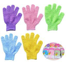 Großhandel Peeling Bad Handschuh Körper Scrubber Handschuh Nylon Dusche Handschuhe Körper Spa Massage Dead Skin Cell Remover
