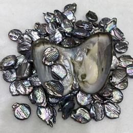 NUEVOS trillizos 10-15 MM 3 botones de perlas de la moneda en el agua dulce Oyster Perlas sueltas de color oscuro para la fabricación de bricolaje collar de pulsera envío gratis en venta