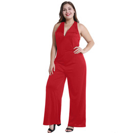 China HANGING Neck Open Back Lapel Wide Leg Jumpsuit Europe And America Large Size Fashion Temperament Summer Women's Clothing supplier europe clothes sizes suppliers