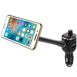 iphone car holder transmitter NZ - Car Magnetic Phone Holder Bluetooth FM Transmitter Car Kit HandsFree LCD Display USB Charger For iPhone Samsung