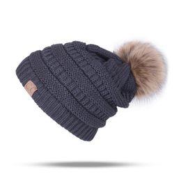 Tie Dye Hair UK - New Pattern CC Hair Ball Wool Yarn Hats Ma'am Autumn And Winter Plus Cashmere Volume Edge Knitting Cap Outdoors Keep Warm Cap A104