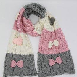 $enCountryForm.capitalKeyWord NZ - Russian stylish cable knitted winter autumn warm acrylic scarf hat gloves with bow knot 3 pcs set pink red 2 colors LL180388