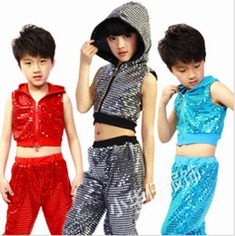 b0c6f31c12ed Free shipping,children girl boy performance Hip hop Jazz modern dance suit  costume clothes hooded sequined costumes clothing