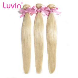 Discount free hair bundles - Luvin Brazilian Remy Straight Hair 1PC 613 Blonde Hair Bundles 100% Human Hair Weave Bundles Free Shipping