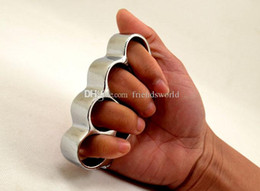 $enCountryForm.capitalKeyWord UK - 10PCS THICK CHROMED STEEL BRASS KNUCKLES KNUCKLE DUSTER Self Defense Protective Gear DHL FEDEX Free Shipping