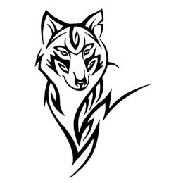 Discount tribal stickers - 12.2*18CM Car Decoration Silhouette Of The Wolf Crazy Animal Car Sticker Tribal Vinyl Car Body Decals