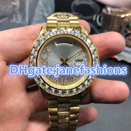 $enCountryForm.capitalKeyWord NZ - AAA four angle diamond baffle luxury Diamond Men's watches gold row drilling stainless steel watch double calendar date Chronograph Watches
