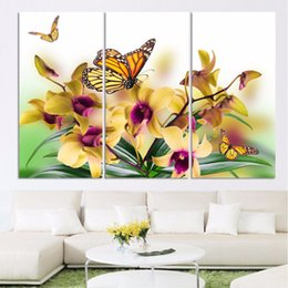 modern abstract flower paintings 2019 - Living Room HD Printed Wall Artwork Painting 3 Pieces Yellow Flower Butterfly Home Decor Modular Pictures Framed Modern