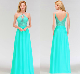 mad dresses 2019 - Peacock Green Chiffon Bridesmaids Dresses For Summer Weddings A Line Halter Neck V Cut Backless Long Maid Of Honor Gowns