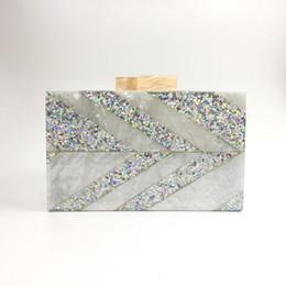 $enCountryForm.capitalKeyWord NZ - 2017 Women Silver Sequined Acrylic Clutch Box Geometric Patchwork Acrylic Evening bag Elegant Wedding Bag Shoulder Handbag