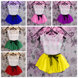 Wholesale New Baby Girls Clothing Sets Chiffon net breath T shirt bow dress clothes sets Children Girls Fashion Suit