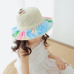 fb275a6ee6b59 Delicate children straw hat with cartoon butterfly cute baby hats girls sun  hat kids beach hat breathable cap 6 color free ship