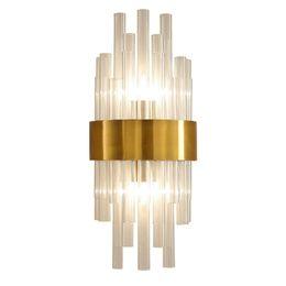 Applique nordique cristal K9 Applique Murale Or Couleur Foyer Salon Chambre Chevet Applique Murale Applique Luxe 2 x E14 lampe en Solde