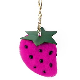 $enCountryForm.capitalKeyWord UK - Sweet cute keychain cartoon fruit strawberry key chain pendant woman bag pendant plush ball accessories jewelry fashion keychain
