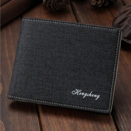 candy wallets wholesale Canada - 8 Photos 2016 New Fashion Men's Wallets Canvas Thin Men's Wallet Men's Purses Short Male Wallet Quality Card Holder Money Purses