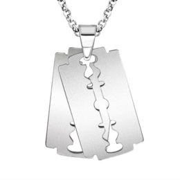 Razor Necklace NZ - SKY Creative Stainless Steel Razor Charms Pendants Silver Ball Blade Chain Necklaces for Men Fashion Jewelry new Year Gifts 2017