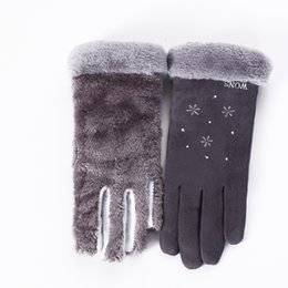 $enCountryForm.capitalKeyWord Australia - New Winter Female Double Thick Plush Wrist Warm Cashmere Cute Snowflake Mittens Women Flexibility Touch Screen Driving Glove 81E S1025