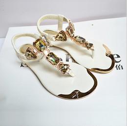 $enCountryForm.capitalKeyWord Canada - 2018 New Summer Flip Toe Diamond Chain Sandals Women Shiny Rhinestone Crystal Flats Rhinestone Women's Slippers