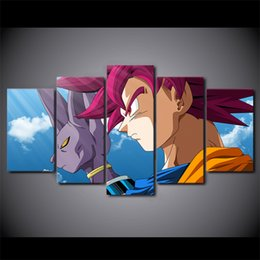 art canvas prints Australia - 5 Piece Canvas Art HD Print Home Decor beerus goku Paintings For Living Room Wall Poster Picture Free Shipping UP-2299C