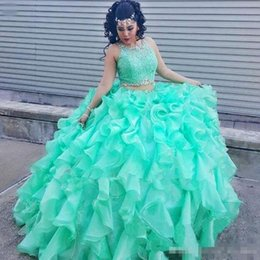 $enCountryForm.capitalKeyWord NZ - 2 Pieces Mint Green Quinceanera Dress Ball Gown Sleeveless Jewel Neck Beaded Lace Ruffles Organza 2017 Fashion Design Prom Gowns Custom