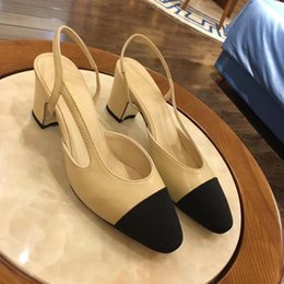 7ab51a03a Designer Ladies slippers Summer new 6.5cm High Heels Beige Sling Genuine  Leather ladies luxury Sandals brand Women s shoes best quality Box