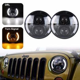 "Round Amber Light NZ - 7"" Inch Round Led Headlights DRL & Hi Lo Beam & Amber Turn Light for Jeep Wrangler JK TJ LJ CJ Rubicon Sahara Unlimited Hummer"