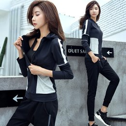 basketball weights NZ - Women Tracksuit Yoga Sets Fitness Sports Dance Weight Loss Yoga Suits Workout Clothes for Woman Blue+Black 3PCS Suits S-XL