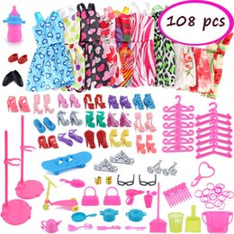 Discount wholesale beautiful clothes - SIRENXI 98 108Pcs Girls Dolls Beautiful Dress Clothes Fashion Party Dreses+Plastic Necklace+Shoes Dollhouse Accessories