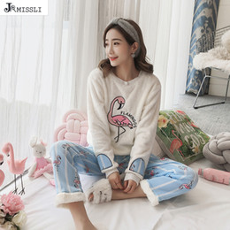 677c52c847 JRMISSLI Winter Women Pajamas Set Plus Size coral fleece Flamingo Print  Flannel Pijama Plus Size Nightgowns Mujer Pyjama D18110502