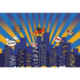 cartoon baby background NZ - Baby Kids Super Hero Themed Photo Shoot Background Printed Night Sky City Buildings Cartoon Birthday Party Photography Backdrops