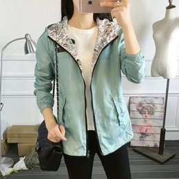 women zipper denim jackets Canada - 2018 Autumn Women Bomber Basic Jacket Pocket Zipper Hooded Two Side Wear Cartoon Denim Print Outerwear Loose Coat