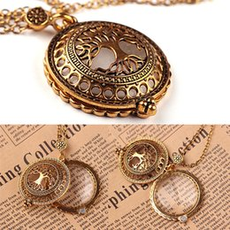 tree life watches UK - Life of Tree Pocket Watch Pendant Necklace Vintage Magnifier Glass Chain Fashion Trend Collar Choker Jewelry D542S