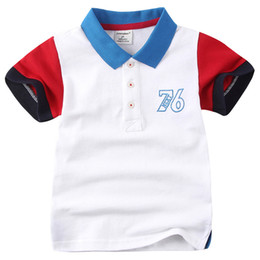 sport tee children Canada - Children Baby Polo T-shirts Cotton Sports T-shirt Summer Solid Color Cotton Tees 1-6Y Child Baby Boy Mandarin Collar T-shirt