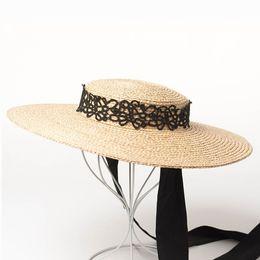 36ae1736296 European and American retro fashion strap straw hat Women Summer Wide Brim  Flat Sun Beach Hat with Lace ribbon