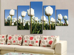Cheap Paintings Sets Australia - 2017 New 5 Pcs set Combined White Tulips Flower Paintings Modern Wall Painting Canvas Home Decor Cheap Art Picture Unframed